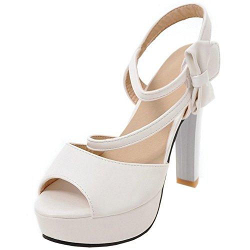 COOLCEPT Femmes Mode Cheville Sandales Peep Toe Bloc Plateforme Scratch Chaussures With bowknot Blanc