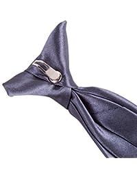 "Robelli Men's Classic Clip On 3"" Wide Satin Safety Tie - Dark Grey"