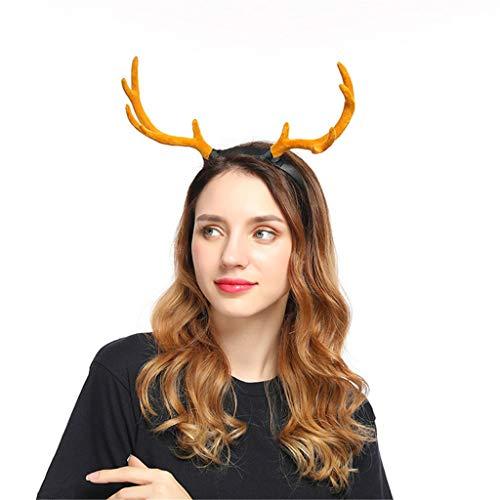 Weihnachten Stirnband Geweih, Rentiergeweih Hörner Haarreif Hut Halloween Kostüm Zubehör Christmas Haarband Party Supplies Cosplay Haarbänder Haarschmuck Weihnachtsdeko - Scheinwerfer Kostüm