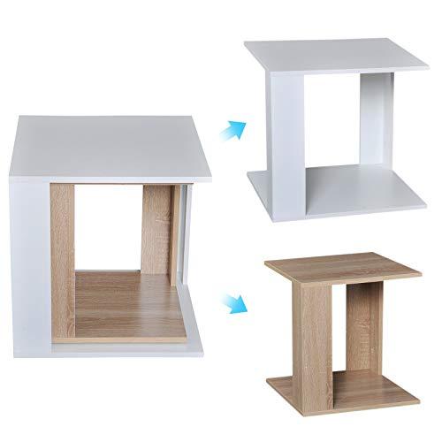 HOMCOM 2er Set Couchtisch Beistelltisch 2-teilig Nachttisch Wohnzimmer und Schlafzimmer Holz Eiche+weiß 50 x 50 x 48 cm
