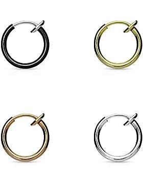 FAKE SEPTUM Piercing | NASENRING | OHRRING | 4er SET | Rosé, Silber, Gold, Schwarz | mit integrierter Feder |...