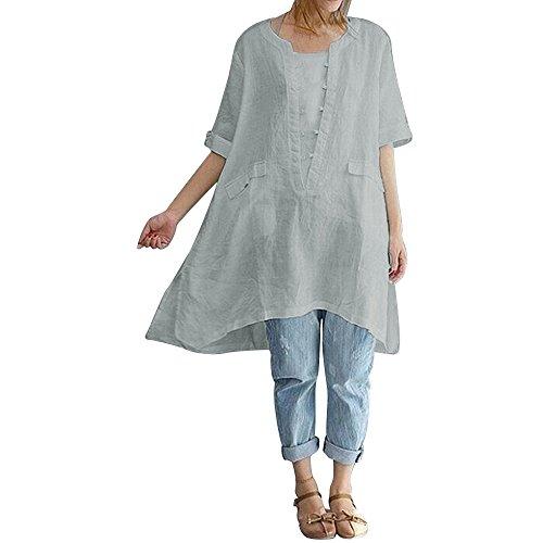 JUTOO Frauen Plus Size Unregelmäßige Mode Lose Leinen Kurzarm Shirt Vintage Bluse(Grau,EU:42/CN:L)