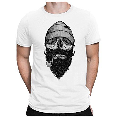 PAPAYANA - Bone Sailor - Herren Fun T-Shirt Bedruckt Kapitän Totenkopf Skull - XXL - Weiß - Ihre Tee Time-t-shirt