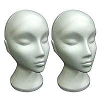 2x White Polystyrene Female Display Mannequin Head Dummy Wig Stand Retail Shop Hat Cap