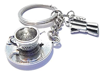 Cappuccino Coffee Cup Keyring Espresso Coffee Pot Keychain Gift Boxed