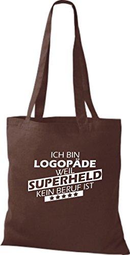 Shirtstown Stoffbeutel Ich bin Logopäde, weil Superheld kein Beruf ist braun