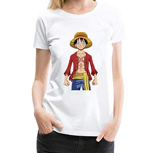 T Shirt Damen Monkey Luffy One Piece Kurzarm Design Sommer Tee Shirt für Männer Tops Kostüm Weiß ()