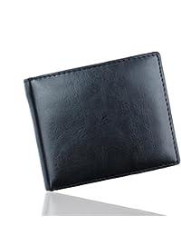AIMEE7 cartera para hombre Hombre Bifold Cartera billetera de cuero Titular de la tarjeta de crédito Bolsillos monedero