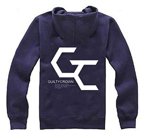 Cosstars Anime Guilty Crown GC Hoodie Jacket Cosplay Kostüm Zipper Pullover Jacke Outwear Sweatshirt Mantel Navy XXL (Yuzuriha Inori Kostüm)