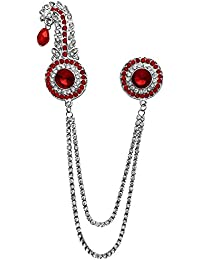 B-fashionable Unisex Metal Double Chain Round Kilangi Brooch(Red)