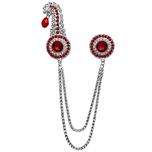 B-Fashionable Double Chain Round Kilangi Brooch (Red)