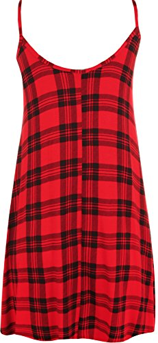 WearAll - Femmes Lacets Sans Manches Cami Tartan Imprimer Swing Gilet Chèque Haut - Hauts - Femmes - Tailles 36-42 Rouge
