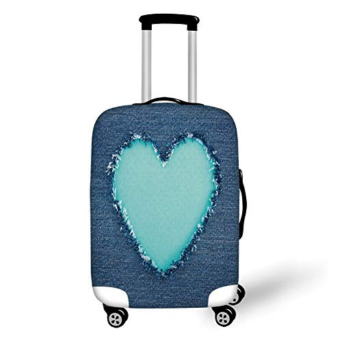 Travel Luggage Cover Suitcase Protector,Navy and Teal,Ripped Denim Jean Fabric Image Heart Shape Love Romance Valentines Day Decorative,Navy Blue Seafoam,for Travel XL Childrens Place Jeans