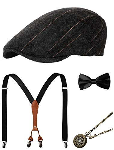 Zivyes 1920s Herren Accessoires Gatsby Gangster Kostüm Zubehör Set Manhattan Fedora Hut Hosenträger Fliege Taschenuhr (7-Black) -
