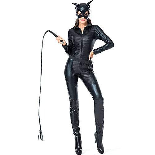 Heroes Cheerleader Kostüm - FHSIANN Damen Halloween Katze Frauen Movie Hero Dark Kostüm Catsuit Maske 2 STÜCKE Set Phantasie Blac k Versuchung Overall Für Frauen Plus Größe