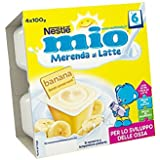 Nestlé Mio Merenda al Latte Banana senza Glutine da 6 Mesi 4 Vasetti Plastica da 100g