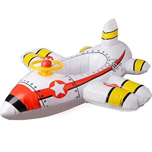 JYCRA Schwimmsitz für Babys, aufblasbares Flugzeug, Motorboot mit Lenkrad, schwimmender Schwimmring für Kinder im Alter von 1-4 Jahren, PVC, weiß, 90x100cm -