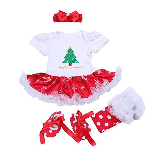 BabyPreg Neonate mio primo Natale costume della Santa del partito del vestito 4PCS (S/3-6Mesi, Albero corto)