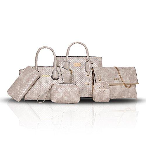 Sunas Il tessuto di modo del sacchetto di spalla della borsa delle donne di estate 2017 estate nuovo 6 insiemi del raccoglitore dell'unità di elaborazione delle borse Beige bianco