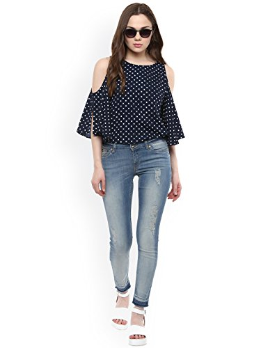 Amayra-Navy-Blue-printed-cold-shoulder-long-sleeves-polka-dotes-top-for-women-western-wear