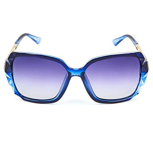 783aea97c9 LECKIRUT Donna Ombra Classico Oversize Polarizzati Occhiali da Sole 100% UV  Protezione Occhiali blu montatura grigio lente