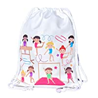 HECKBO Gym bag for girls, ballet bag cotton - white, printed on both sides with colourful gymnasts, 12x16 inch, also suitable for gym lessons, kindergarten, crèche, travel - Gym bag for girls