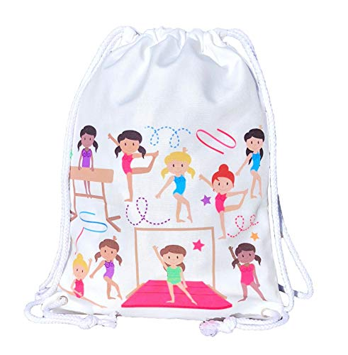 Mochila HECKBO para niñas, bolsa de ballet de algodón - color blanco, estampada por ambos lados con gimnastas de colores, 40 x 30 cm, también adecuado para clases de gimnasia, el jardín de infancia