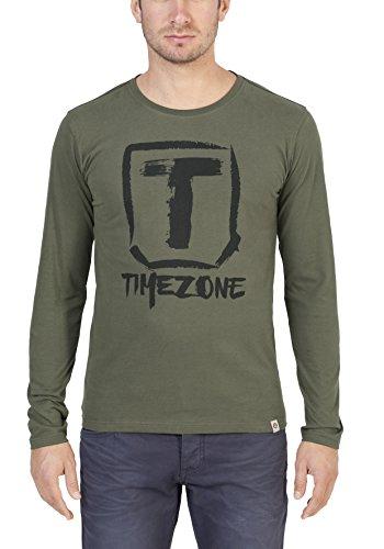 Timezone Herren Langarmshirt Basic Longsleeve Grün (Dusty Olive 4175)