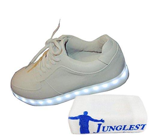 [Présents:petite serviette]JUNGLEST® Femmes Chaussures Athletiques Baskets a Fluorescence Lumineux Lumiere Blanc - Blanc