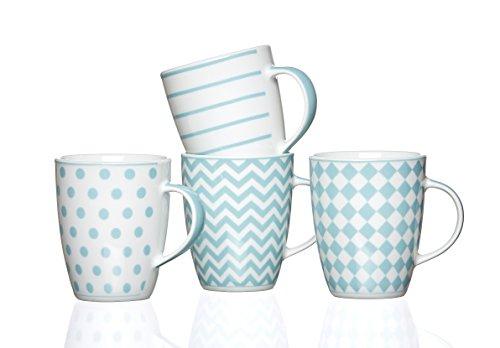 R&B Tasse mit Henkel 4er Set Joko blau, blau Weiss Becher Cup Retro Vintage Shabby Kaffeetasse...