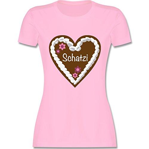 Oktoberfest Damen - Lebkuchenherz Schatzi - tailliertes Premium T-Shirt mit Rundhalsausschnitt für Damen Rosa