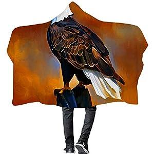 ISAAC ENGLAND Heimtextilien 3D Tier Adler Decken Europa Gedruckt Fleece Mit Kapuze Decke für Erwachsene Kinder Reise Hause Flugzeug-150 * 200 cm