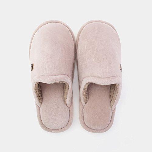 DogHaccd pantofole,Home paio di pantofole di cotone femmina spessa invernale Caldo sweet home interno gancio,La nuda rosaLa nuda rosa Il grigio chiaro3