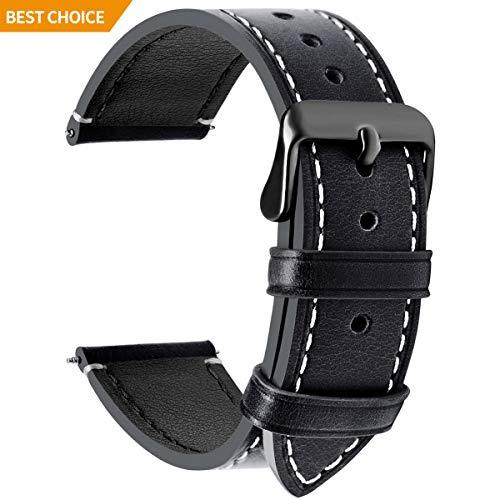 Fullmosa 14mm/16mm/18mm/20mm/22mm/24mm Bracelet Montre en Cuir, 4 Couleurs Montre Bracelet Femme&Homme,Noir + Boucle Grise Fumée,22mm