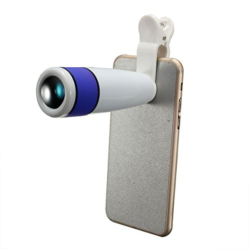 Generic 12X Zoom Universal Mobile Phone Telescope Camera Lens Adjustable Clip Holder – White