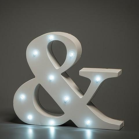 Luces de Madera, VSOAIR Decorativo en las Luces Letra del Alfabeto de Madera MDF Blanco, con Luces LED con Pilas, Carta (&)