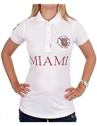 Ed Hardy Damen Miami Poloshirt Shirt Weiß