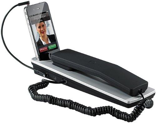 Callstel Telefonhörer für Handys: Dockingstation mit Komfort-Telefonhörer für iPhone 3/3Gs/4/4s (Telefonhörer für Smartphones)