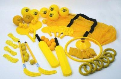 Mini-stick-hockey-set (New Kids Sports acticities Ausrüstung skillbuilder Primary Basics Set & Tasche, gelb)