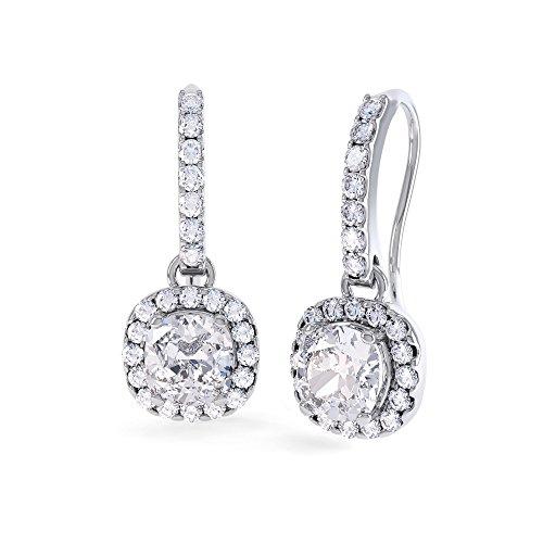 Prizess-Schliff 2 Karat Diamant Pave Tropfen-Ohrringe - Silber - Weißgold (Pave Diamant-ohrringe)