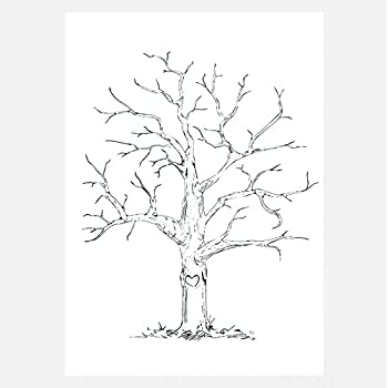 Ginger ray vintage wedding fingerprint tree canvas with inks ourwarm fingerprint canvas wedding fingerprint tree signature tree diy wedding party sign in figure with 1 ink pad random color 30cm x 40cm style 6 pronofoot35fo Gallery