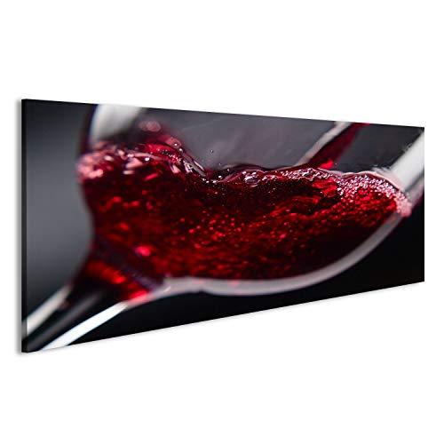 islandburner Bild Bilder auf Leinwand Rotwein in Weinglas auf schwarzem Hintergrund Wandbild,...