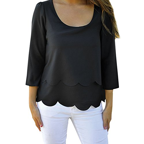 Jardin Rêvé Femme Pull Chemise Printemps Dos Nu 3/4 Manches Col Rond Tops Shirt Noir