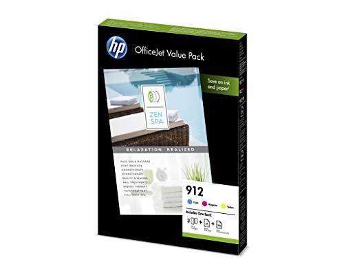 HP 912 Office Value Pack 3 Druckerpatronen mit hoher Reichweite (25 Blatt Druckerpapier glänzend (180g), 100 Blatt Druckerpapier Color Choice (90g) für HP OfficeJet Pro) blau, rot, gelb -