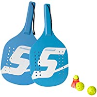 Speedminton 2 Spieler Light Wooden Paddle 2 Player Set-Incl. 2 Balls 1 Original Fun Speeder Birdie-Perfect Alternative To Smashball and Beach Tennis, Unisex, Cian, Talla Única