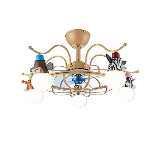YDYG LED-Deckenventilator mit Beleuchtungssatz und Fernbedienung (5 Leuchten) Kinderzimmer LED-Deckenleuchte Modern, Unterputz-Deckenleuchte Dekoration Wohnzimmer Esszimmer (4 ABS-Flügel) - Fantasy-bronze-kronleuchter