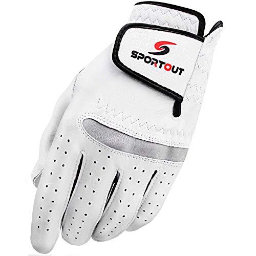 Sportout Herren Compression-fit Stable-Grip echtem Cabretta-Leder Golf Handschuh, Super Weich, Flexibel, tragen beständig und angenehm, (L, Links) -