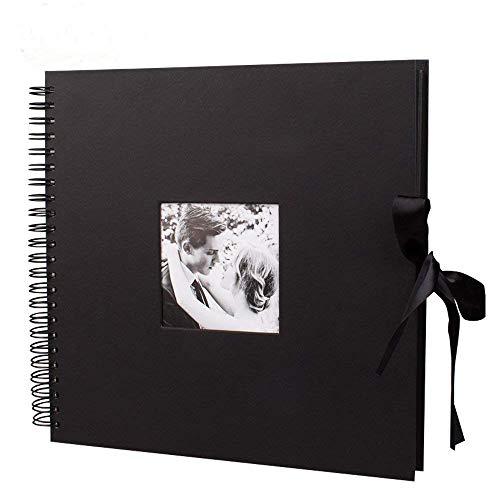 Album photo scrapbooking 80 pages fait à la main DIY Album Craft Paper, 30,5 x 30,5 cm pour mémoire livre livre d'or de mariage, anniversaire de mariage, cadeaux de St Valentin(Noir, 12 pouces)