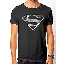 Superman Logo Mono Distressed, Camisetas para Hombre, Negro, Large