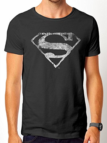 Superman Herren T-Shirts Logo Mono Distressed, Schwarz, XX-Large (Blue Distressed Logo T-shirt)